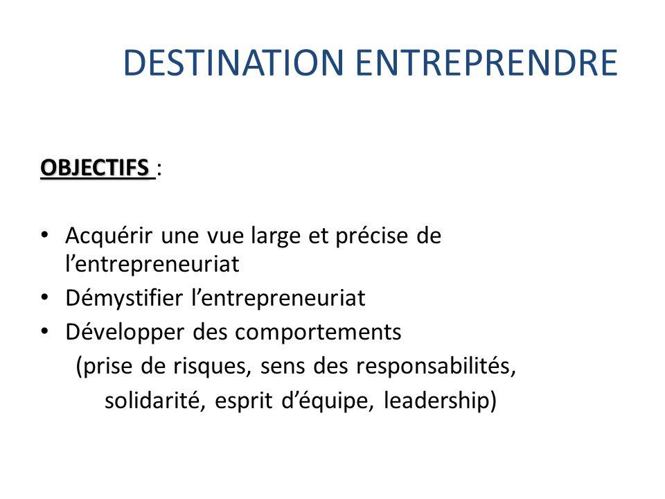 DESTINATION ENTREPRENDRE OBJECTIFS OBJECTIFS : Acquérir une vue large et précise de l'entrepreneuriat Démystifier l'entrepreneuriat Développer des com