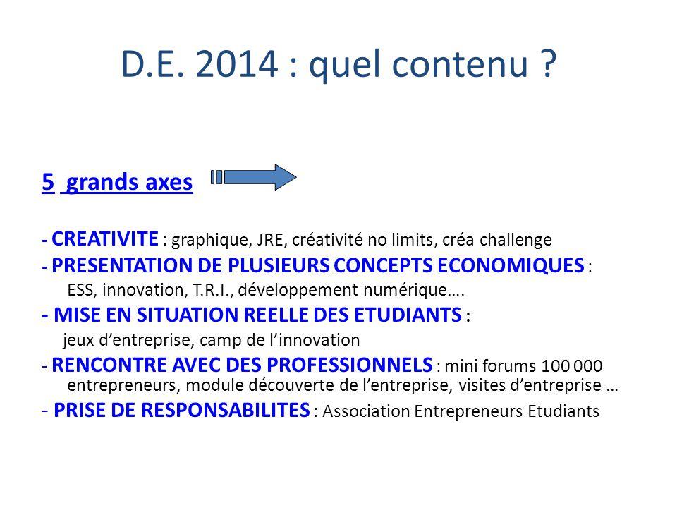 D.E. 2014 : quel contenu ? 5 grands axes - CREATIVITE : graphique, JRE, créativité no limits, créa challenge - PRESENTATION DE PLUSIEURS CONCEPTS ECON