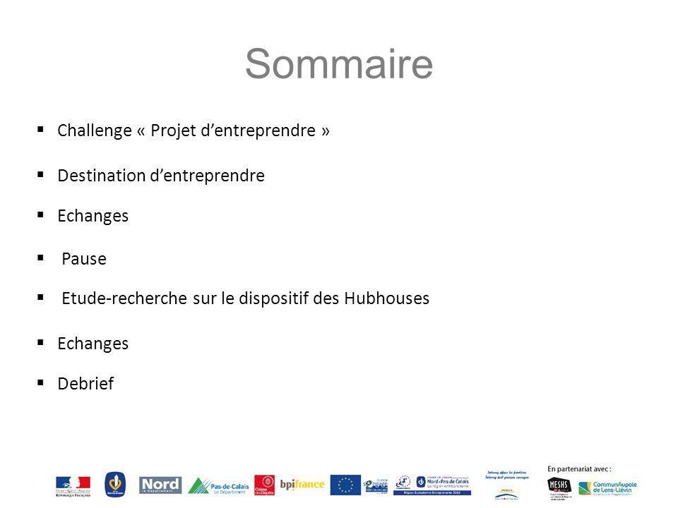 Sommaire  Challenge « Projet d'entreprendre »  Destination d'entreprendre  Echanges  Pause  Etude-recherche sur le dispositif des Hubhouses  Ech