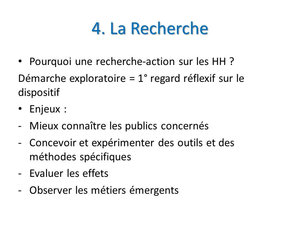 4. La Recherche Pourquoi une recherche-action sur les HH ? Démarche exploratoire = 1° regard réflexif sur le dispositif Enjeux : -Mieux connaître les