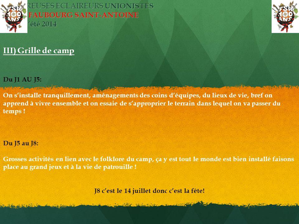ECLAIREUSES ECLAIREURS UNIONISTES PARIS FAUBOURG SAINT-ANTOINE camp d'été 2014 III) Grille de camp Du J1 AU J5: On s'installe tranquillement, aménagem
