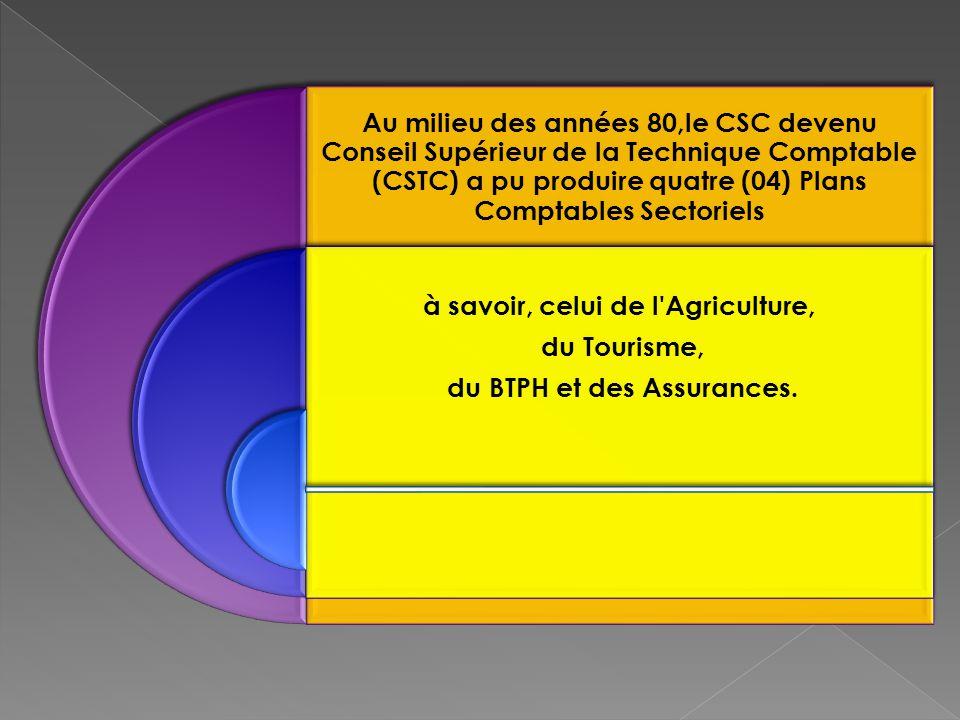 Au milieu des années 80,le CSC devenu Conseil Supérieur de la Technique Comptable (CSTC) a pu produire quatre (04) Plans Comptables Sectoriels à savoir, celui de l Agriculture, du Tourisme, du BTPH et des Assurances.