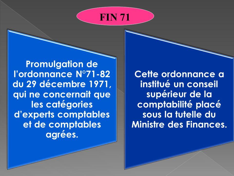 Promulgation de l'ordonnance N°71-82 du 29 décembre 1971, qui ne concernait que les catégories d'experts comptables et de comptables agrées.