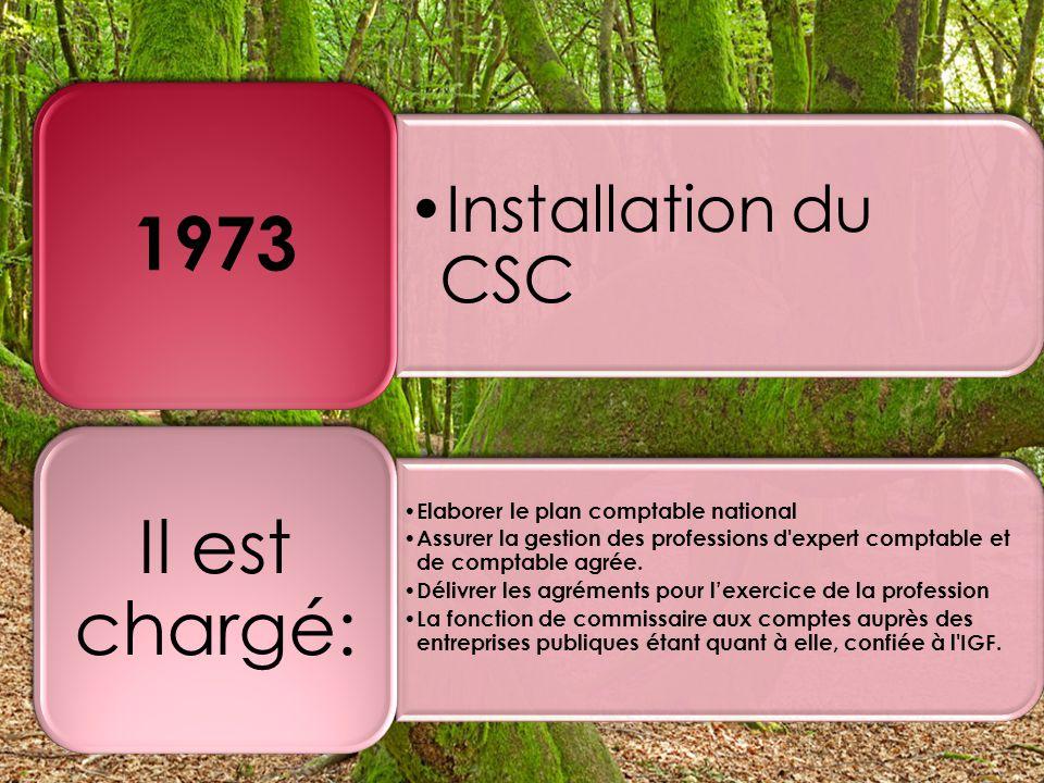 Installation du CSC 1973 Elaborer le plan comptable national Assurer la gestion des professions d expert comptable et de comptable agrée.