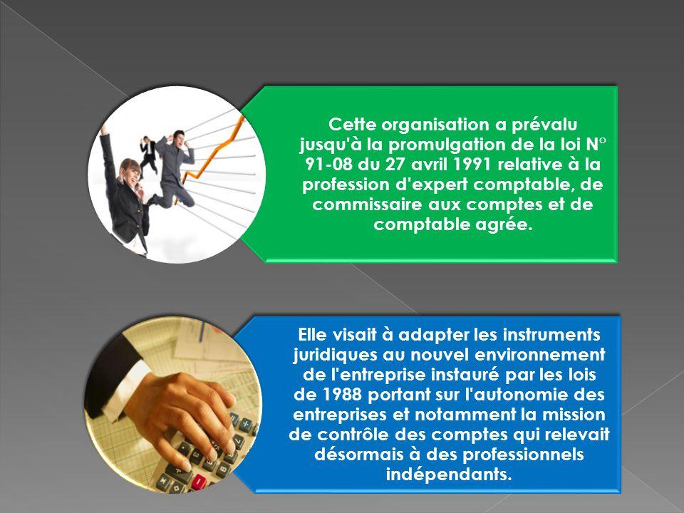 Cette organisation a prévalu jusqu à la promulgation de la loi N° 91-08 du 27 avril 1991 relative à la profession d expert comptable, de commissaire aux comptes et de comptable agrée.