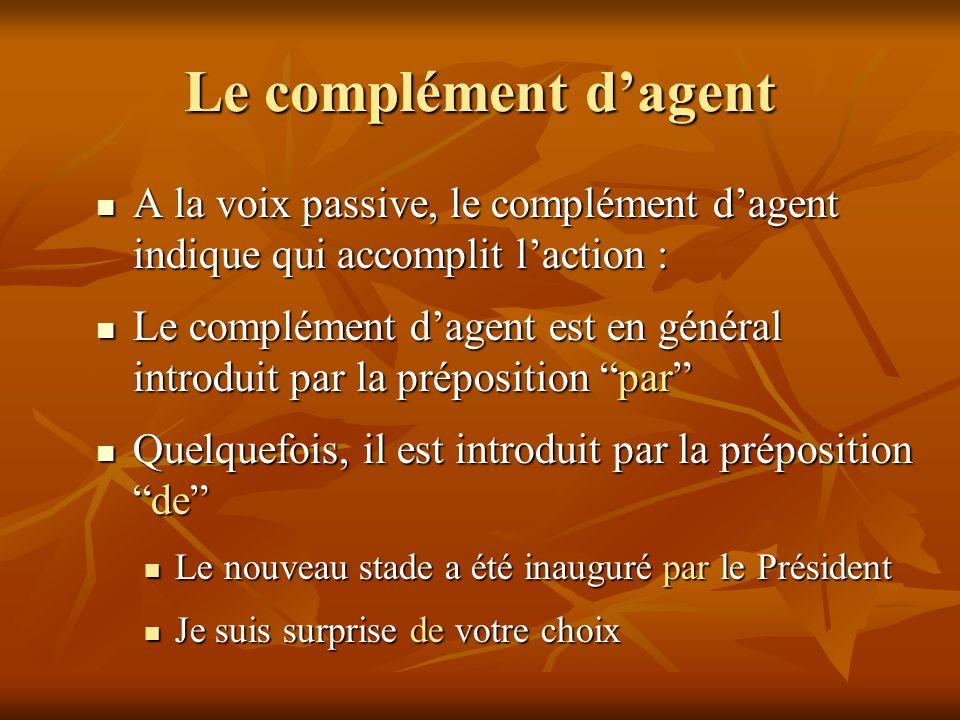 Le complément d'agent A la voix passive, le complément d'agent indique qui accomplit l'action : A la voix passive, le complément d'agent indique qui a