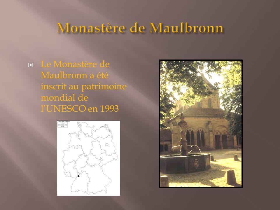  Le Monastère de Maulbronn a été inscrit au patrimoine mondial de l'UNESCO en 1993