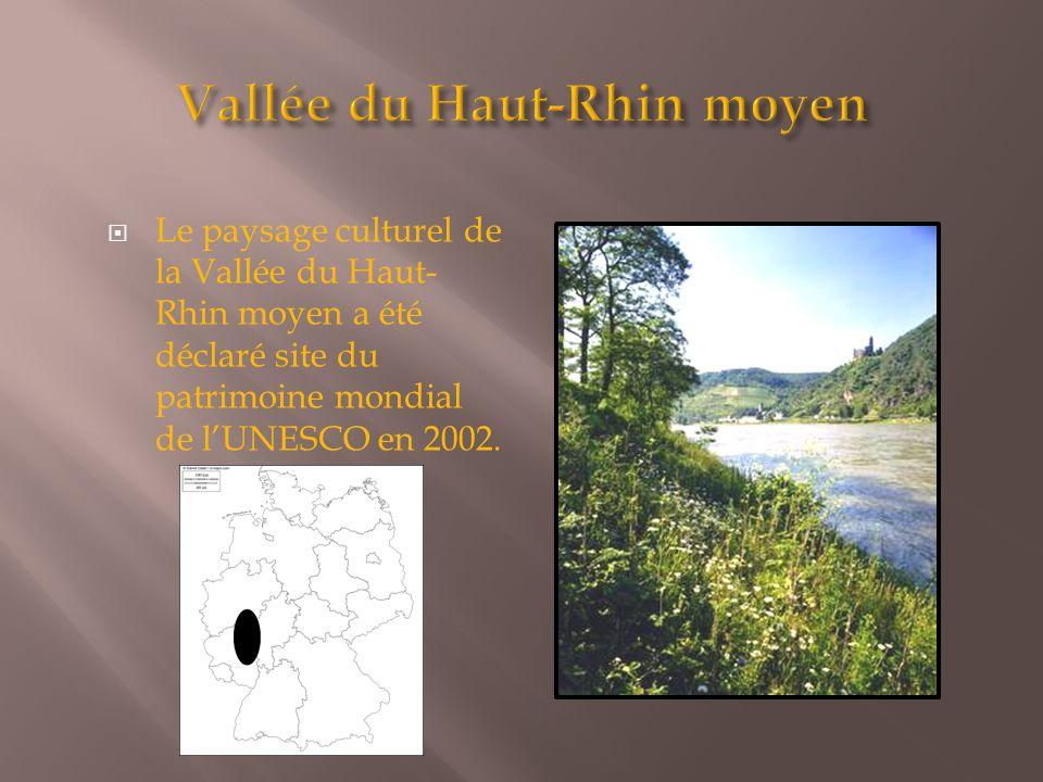  Le paysage culturel de la Vallée du Haut- Rhin moyen a été déclaré site du patrimoine mondial de l'UNESCO en 2002.