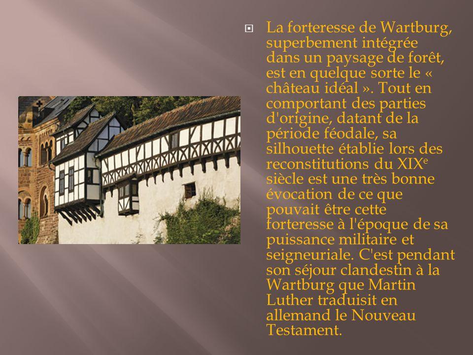  La forteresse de Wartburg, superbement intégrée dans un paysage de forêt, est en quelque sorte le « château idéal ». Tout en comportant des parties