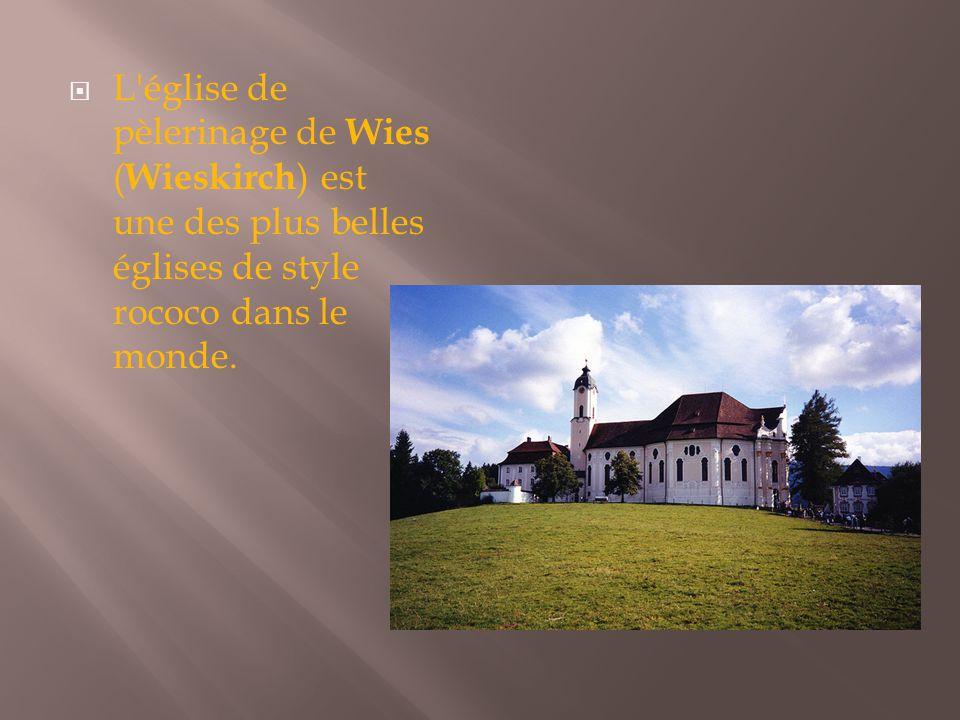  L'église de pèlerinage de Wies ( Wieskirch ) est une des plus belles églises de style rococo dans le monde.