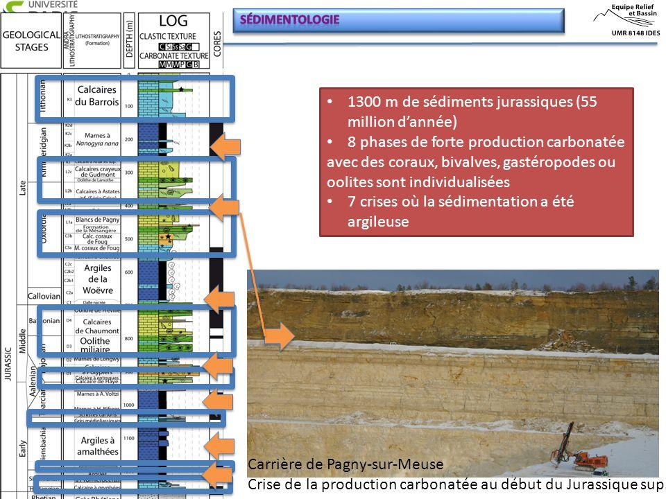 1300 m de sédiments jurassiques (55 million d'année) 8 phases de forte production carbonatée avec des coraux, bivalves, gastéropodes ou oolites sont i
