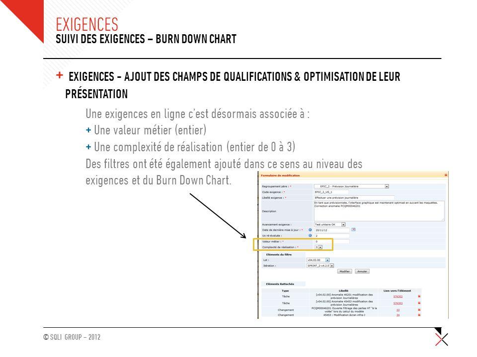 © SQLI GROUP – 2012 + EXIGENCES - AJOUT DES CHAMPS DE QUALIFICATIONS & OPTIMISATION DE LEUR PRÉSENTATION (SUITE) SUIVI DES EXIGENCES – BURN DOWN CHART EXIGENCES L'affichage des champs de qualification d'une exigences a été amélioré pour gagner en efficacité : + Ajout d'une colonne dédiée : colonne « Caractéristiques » + Affichage fusionné du code et du libellé : lors du survol de la colonne « Code –libellé »