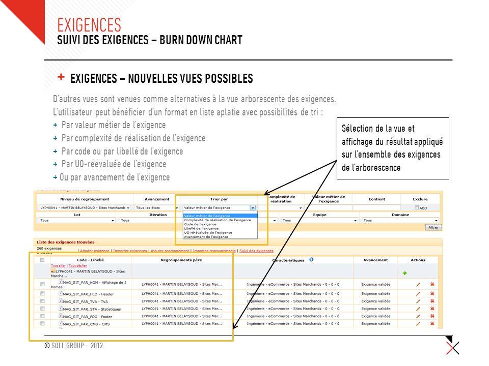 © SQLI GROUP – 2012 + EXIGENCES – NOUVELLES VUES POSSIBLES SUIVI DES EXIGENCES – BURN DOWN CHART EXIGENCES D'autres vues sont venues comme alternative