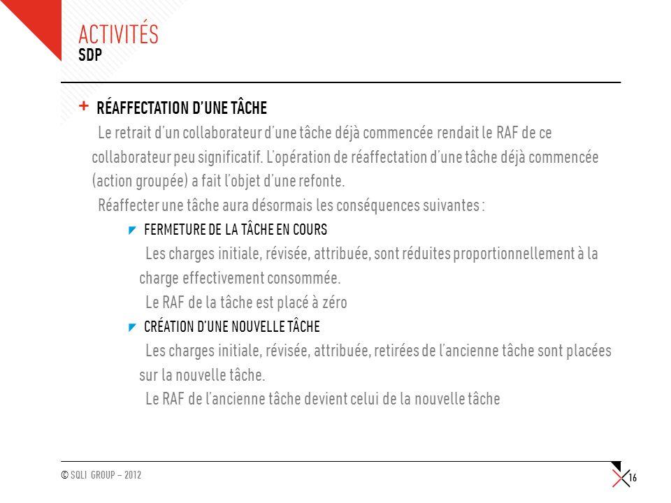 © SQLI GROUP – 2012 ACTIVITÉS + REFONTE DU TABLEAU DE BORD Les tâches sont désormais triées par Itération (si applicable sur le projet), puis par Lot (si applicable) puis par ordre alphabétique.