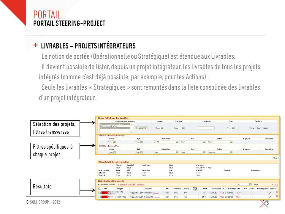 © SQLI GROUP – 2012 PORTAIL + LIVRABLES – PROJETS INTÉGRATEURS La notion de portée (Opérationnelle ou Stratégique) est étendue aux Livrables. Il devie