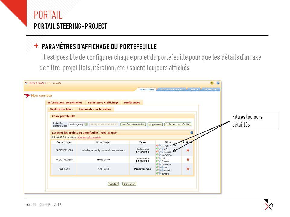 © SQLI GROUP – 2012 PORTAIL + PARAMÈTRES D'AFFICHAGE DU PORTEFEUILLE Il est possible de configurer chaque projet du portefeuille pour que les détails