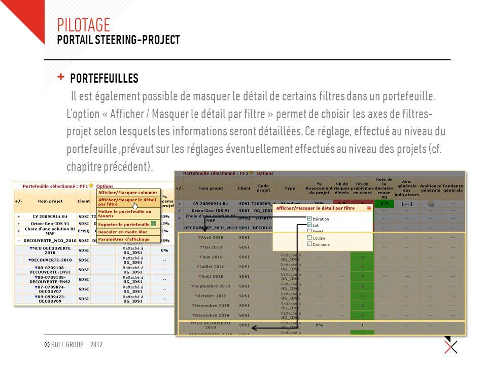 © SQLI GROUP – 2012 PILOTAGE + PORTEFEUILLES Il est également possible de masquer le détail de certains filtres dans un portefeuille. L'option « Affic