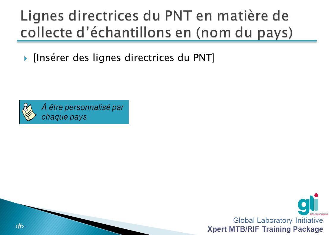 Global Laboratory Initiative Xpert MTB/RIF Training Package -‹#›-  Suivez les lignes directrices du PNT sur la collecte des expectorations.  Veillez