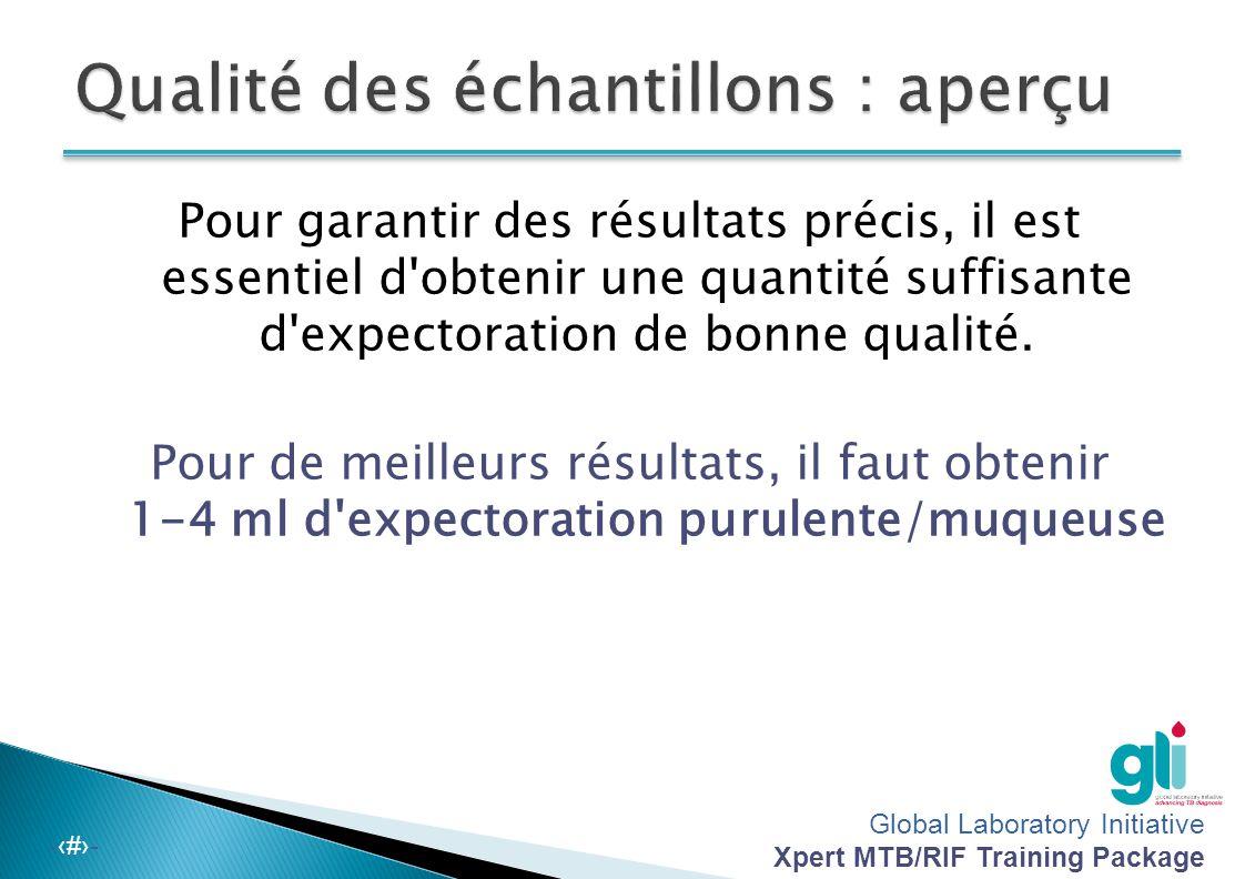 Global Laboratory Initiative Xpert MTB/RIF Training Package -‹#›- Salivaire Sanguinolent (Images gracieuseté de A.