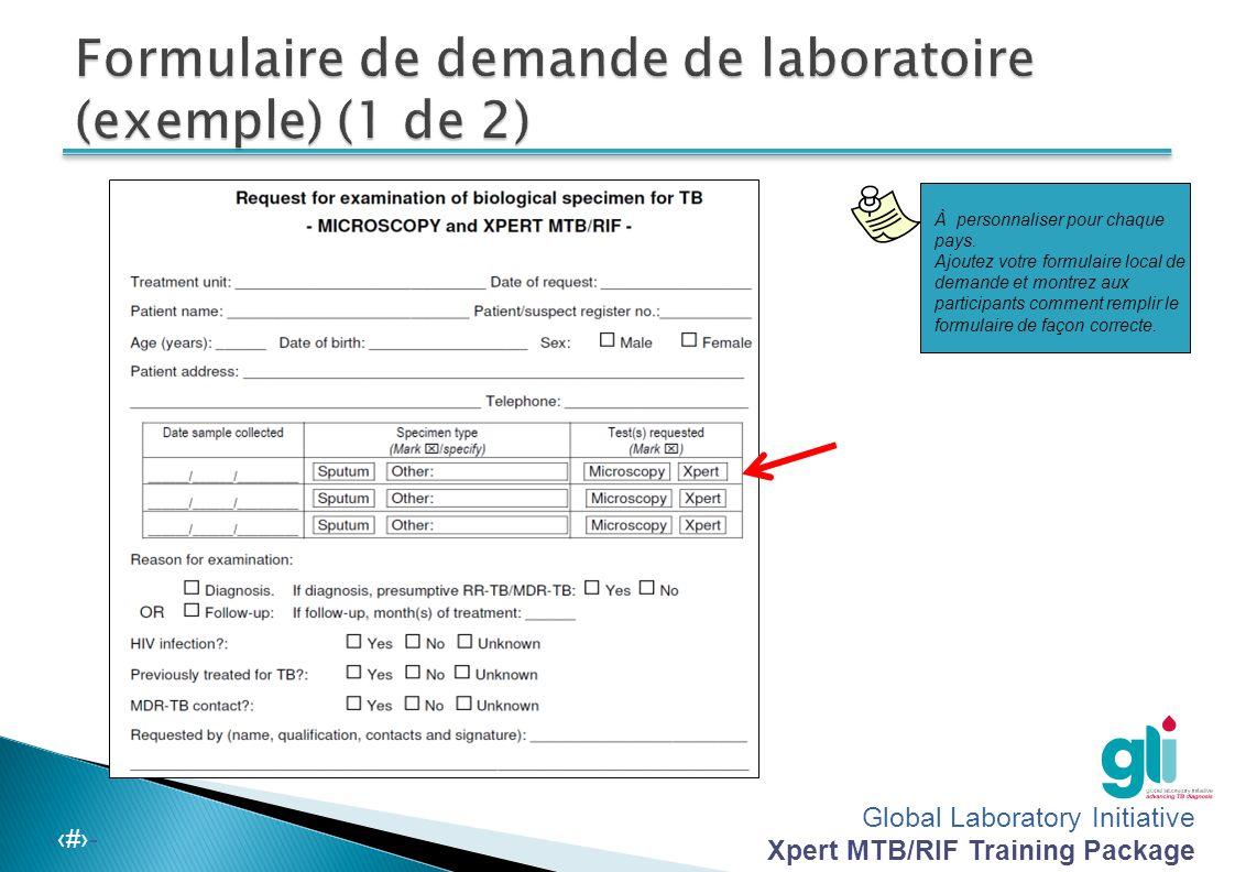Global Laboratory Initiative Xpert MTB/RIF Training Package -‹#›- Une demande d examen d'expectoration devrait inclure :  Nom de l unité de traitement  Date de la demande  Des information sur le patient (c est-à-dire, le nom, le sexe, l'âge, l'adresse et le numéro d'enregistrement du patient ou du cas suspect)  Nombre d'échantillons et types d'échantillons envoyés pour des examens  Date de prélèvement des échantillons  Raison de l examen (par exemple, diagnostic ou suivi)  Signature de la personne demandant l examen