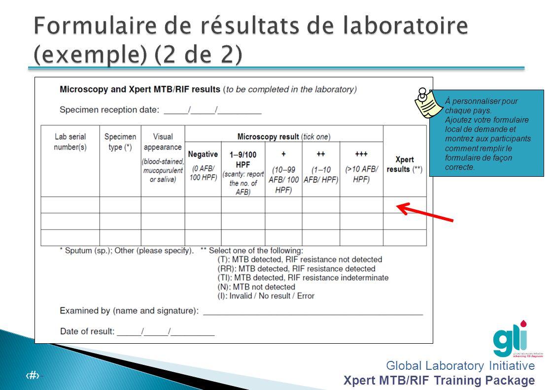 Global Laboratory Initiative Xpert MTB/RIF Training Package -‹#›- À personnaliser pour chaque pays. Ajoutez votre formulaire local de demande et montr