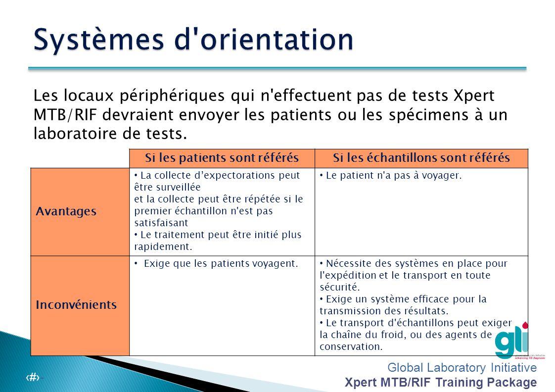 Global Laboratory Initiative Xpert MTB/RIF Training Package -‹#›-  Vérifiez la quantité et la qualité des échantillons : – Vérifiez le volume (idéalement 1 à 4 ml; il faut un minimum de 1 ml pour le test Xpert MTB/RIF) – Enregistrez la cohérence de l'expectoration (muqueuse, purulente, sanguinolente ou aqueuse) sur le formulaire de rapport – Veillez à ce que les spécimens ne contiennent pas d'aliments ou d'autres particules.