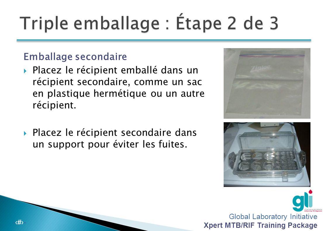 Global Laboratory Initiative Xpert MTB/RIF Training Package -‹#›- Emballage primaire  Emballez le récipient étanche en ouate ou serviettes en papier qui peuvent absorber les éventuelles fuites.