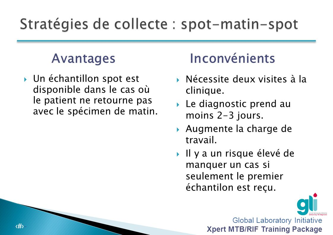 Global Laboratory Initiative Xpert MTB/RIF Training Package -‹#›- Spot – matin – spot L'OMS et l'Union recommandent ce calendrier :  Spot Dans la cli