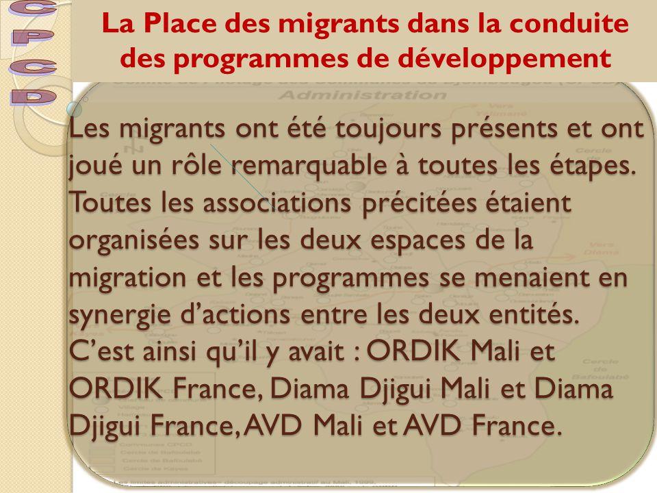 La Place des migrants dans la conduite des programmes de développement Les migrants ont été toujours présents et ont joué un rôle remarquable à toutes les étapes.