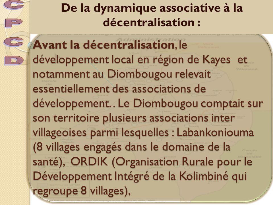 Diama Djigui qui regroupe 4 villages, Endam Diombougou (11 villages),Benkadi qui regroupe 10 villages, AVD (association villageoise du Diombougou qui regroupait l'ensemble des villages de la contrée Diombougou).
