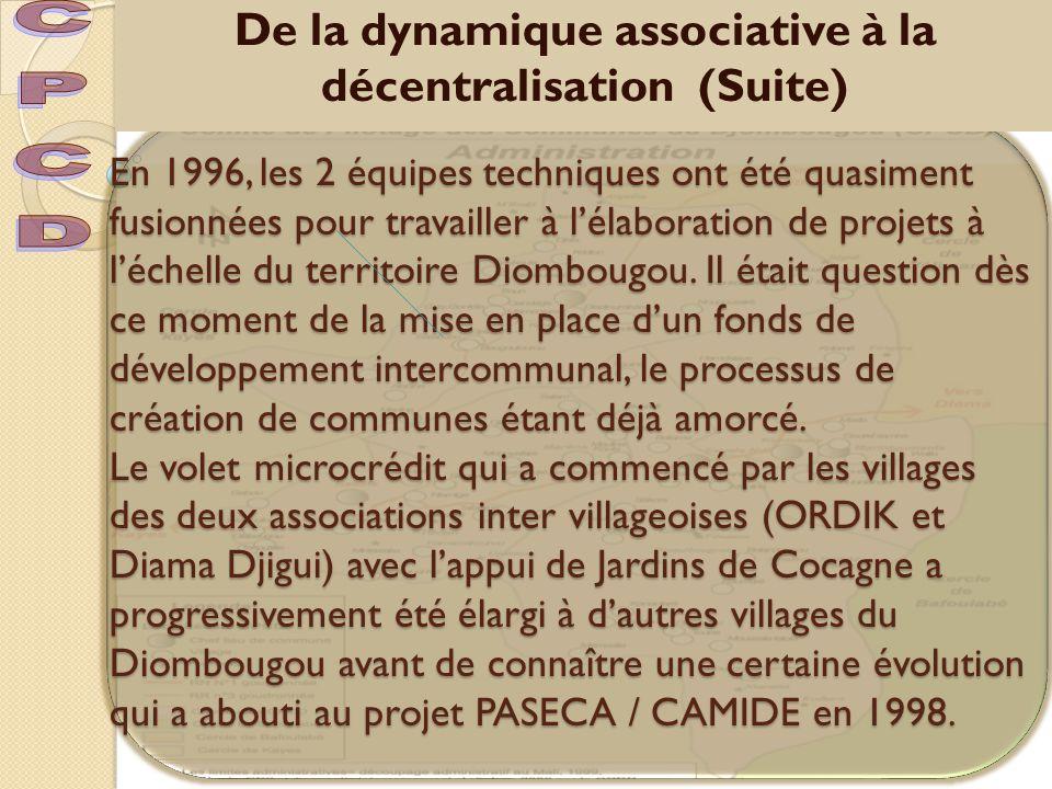 En 1996, les 2 équipes techniques ont été quasiment fusionnées pour travailler à l'élaboration de projets à l'échelle du territoire Diombougou.
