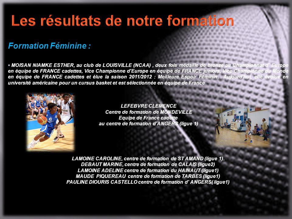 Formation Féminine :  MOISAN NIAMKE ESTHER, au club de LOUISVILLE (NCAA), deux fois médaille de bronze au Championnat d Europe en équipe de FRANCE cadettes, Vice Championne d Europe en équipe de FRANCE juniors, Vice Championne du Monde en équipe de FRANCE cadettes et élue la saison 2011/2012 : Meilleure Espoir Féminin.