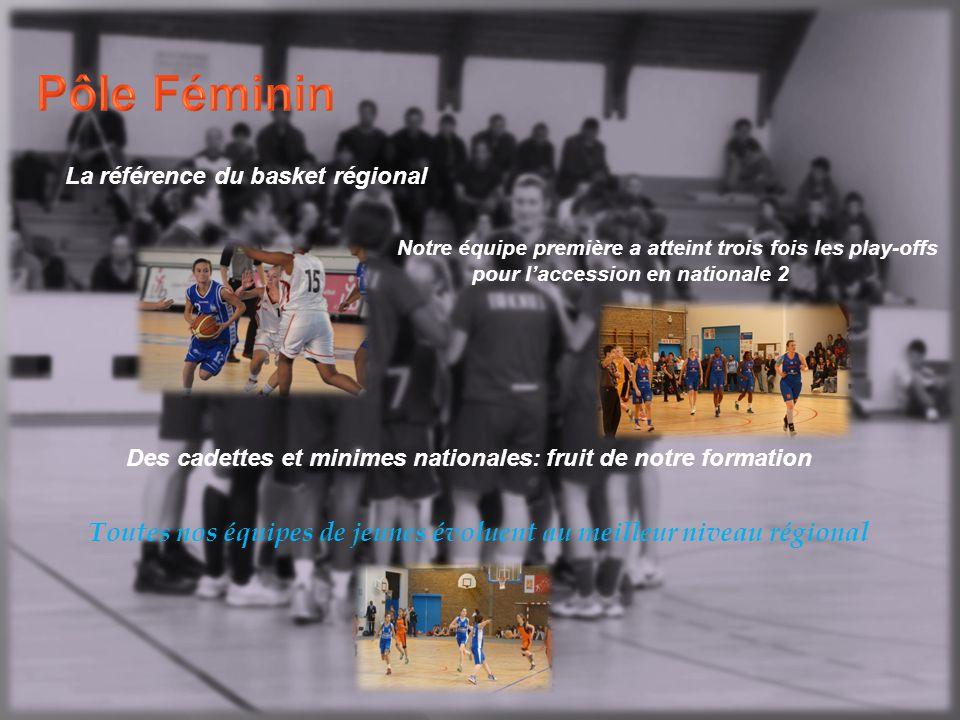 La référence du basket régional Notre équipe première a atteint trois fois les play-offs pour l'accession en nationale 2 Des cadettes et minimes nationales: fruit de notre formation Toutes nos équipes de jeunes évoluent au meilleur niveau régional