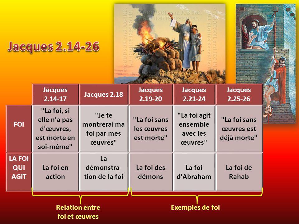 Jacques 2.14-17 Jacques 2.18 Jacques 2.19-20 Jacques 2.21-24 Jacques 2.25-26 FOI