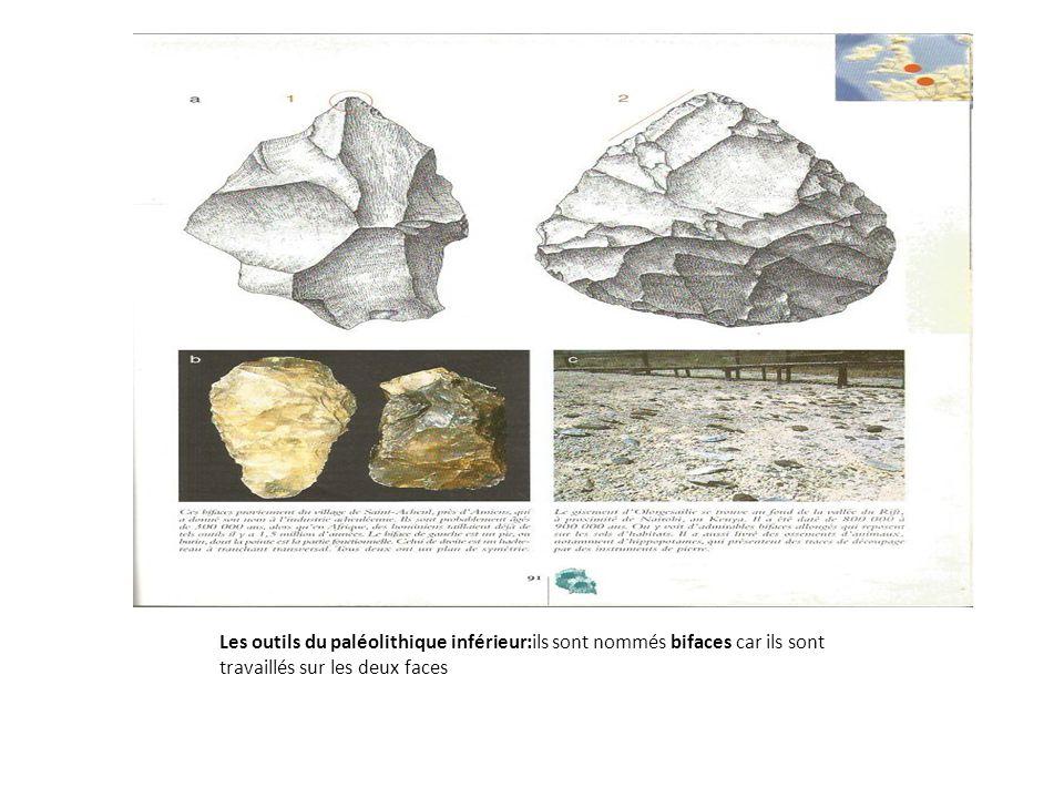 Les outils du paléolithique inférieur:ils sont nommés bifaces car ils sont travaillés sur les deux faces