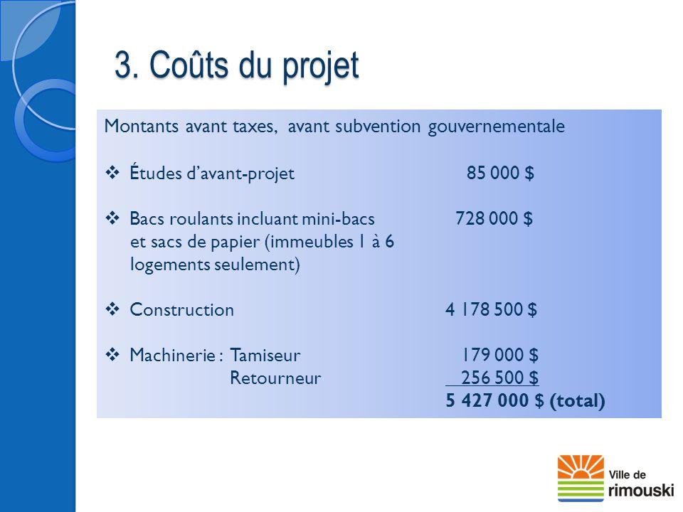 3. Coûts du projet Montants avant taxes, avant subvention gouvernementale  Études d'avant-projet 85 000 $  Bacs roulants incluant mini-bacs 728 000