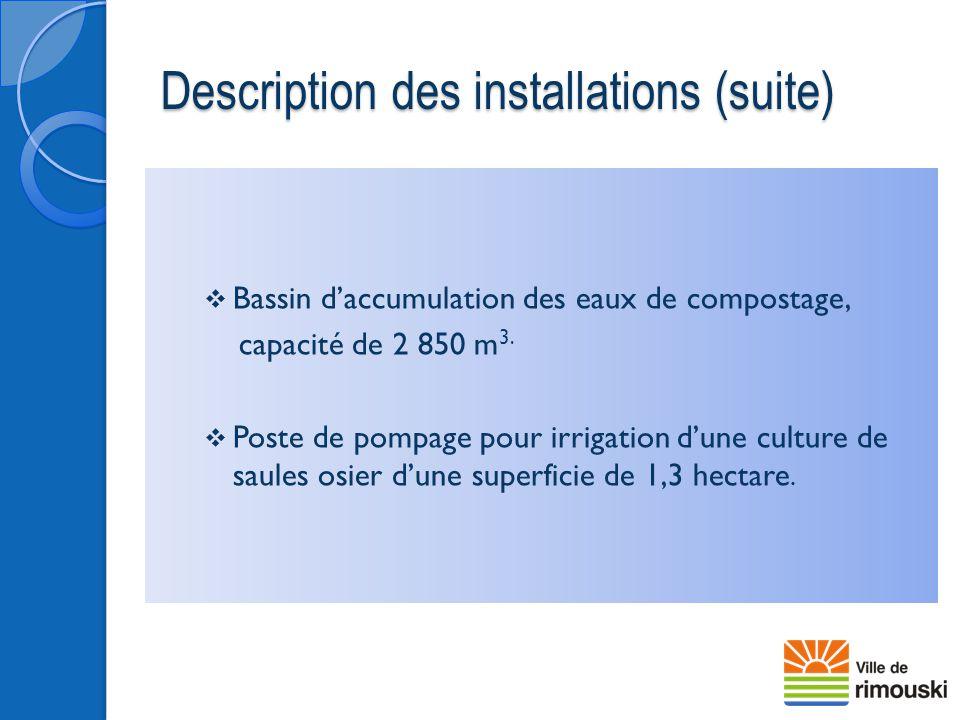 Description des installations (suite)  Bassin d'accumulation des eaux de compostage, capacité de 2 850 m 3.  Poste de pompage pour irrigation d'une