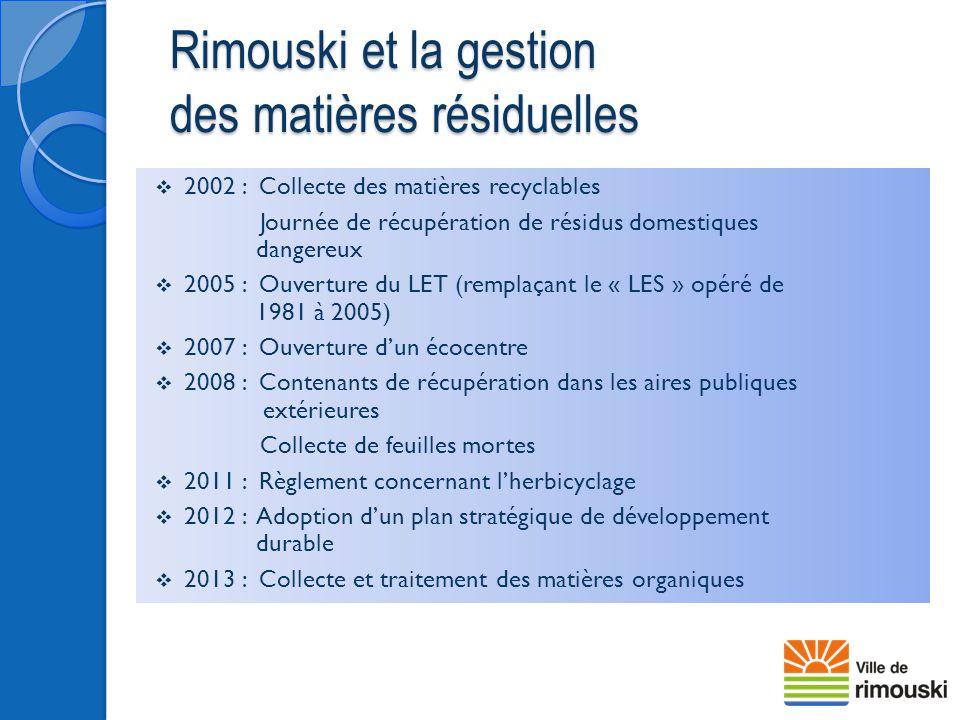  2002 : Collecte des matières recyclables Journée de récupération de résidus domestiques dangereux  2005 : Ouverture du LET (remplaçant le « LES » o