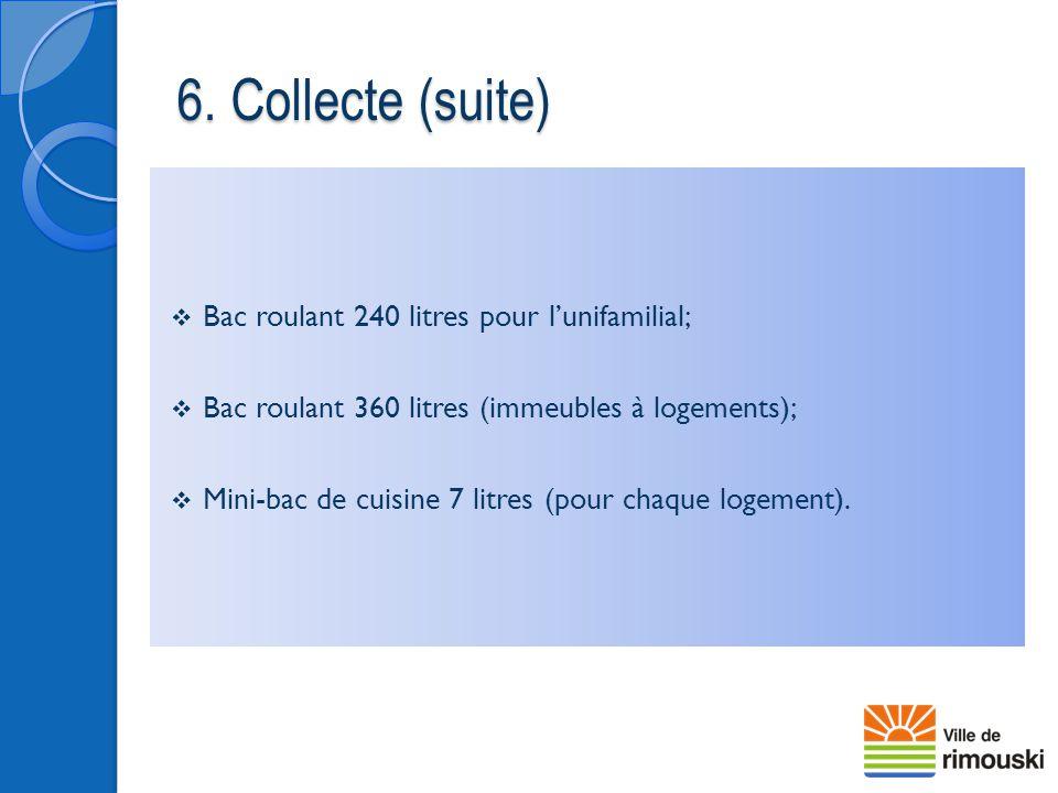  Bac roulant 240 litres pour l'unifamilial;  Bac roulant 360 litres (immeubles à logements);  Mini-bac de cuisine 7 litres (pour chaque logement).