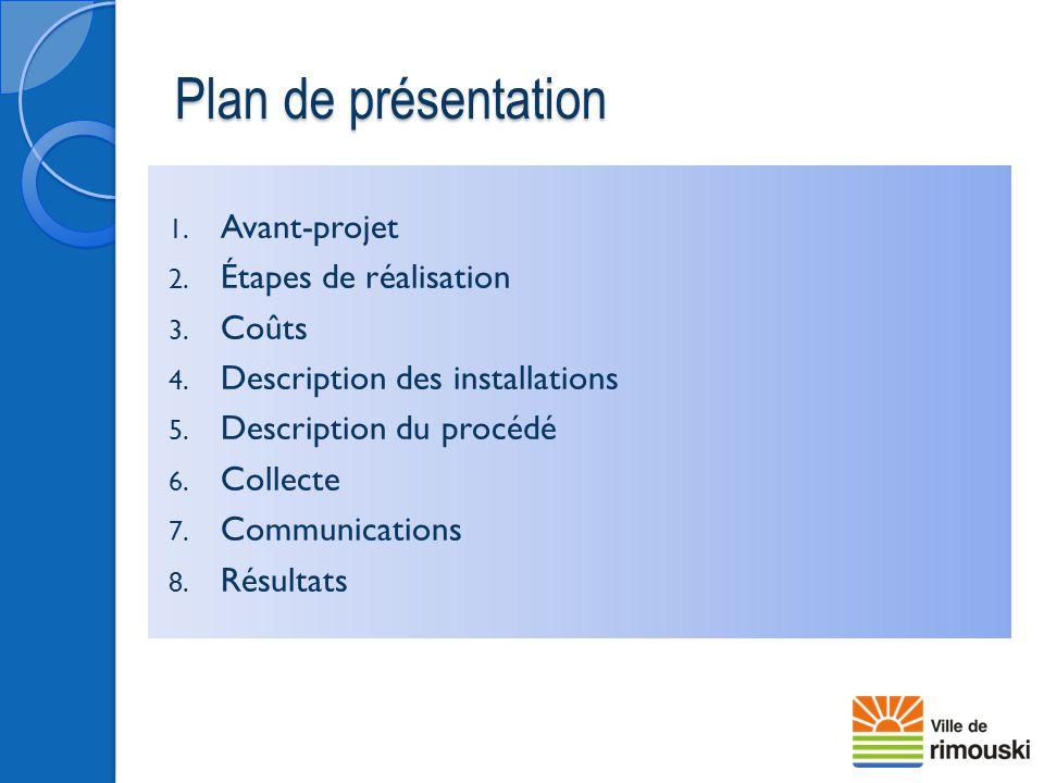 1. Avant-projet 2. Étapes de réalisation 3. Coûts 4. Description des installations 5. Description du procédé 6. Collecte 7. Communications 8. Résultat