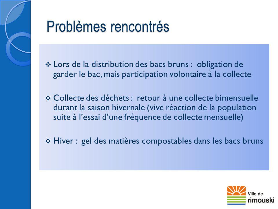 Problèmes rencontrés  Lors de la distribution des bacs bruns : obligation de garder le bac, mais participation volontaire à la collecte  Collecte de