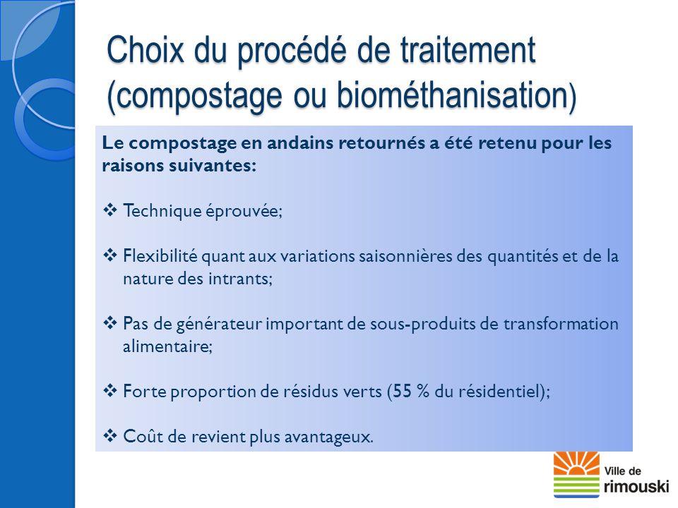 Choix du procédé de traitement (compostage ou biométhanisation ) Le compostage en andains retournés a été retenu pour les raisons suivantes:  Techniq