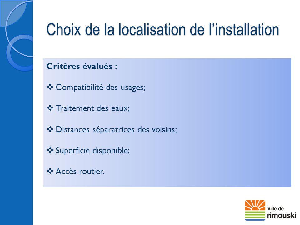 Choix de la localisation de l'installation Critères évalués :  Compatibilité des usages;  Traitement des eaux;  Distances séparatrices des voisins;
