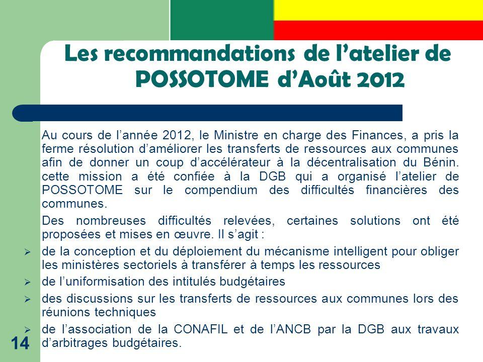 Les recommandations de l'atelier de POSSOTOME d'Août 2012 14 Au cours de l'année 2012, le Ministre en charge des Finances, a pris la ferme résolution