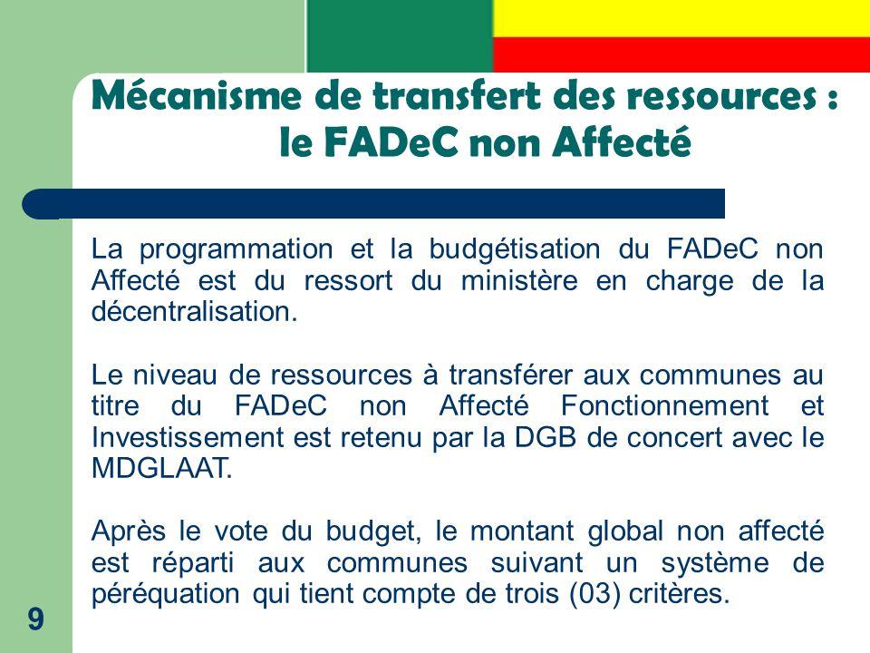 Mécanisme de transfert des ressources : le FADeC non Affecté 9 La programmation et la budgétisation du FADeC non Affecté est du ressort du ministère e