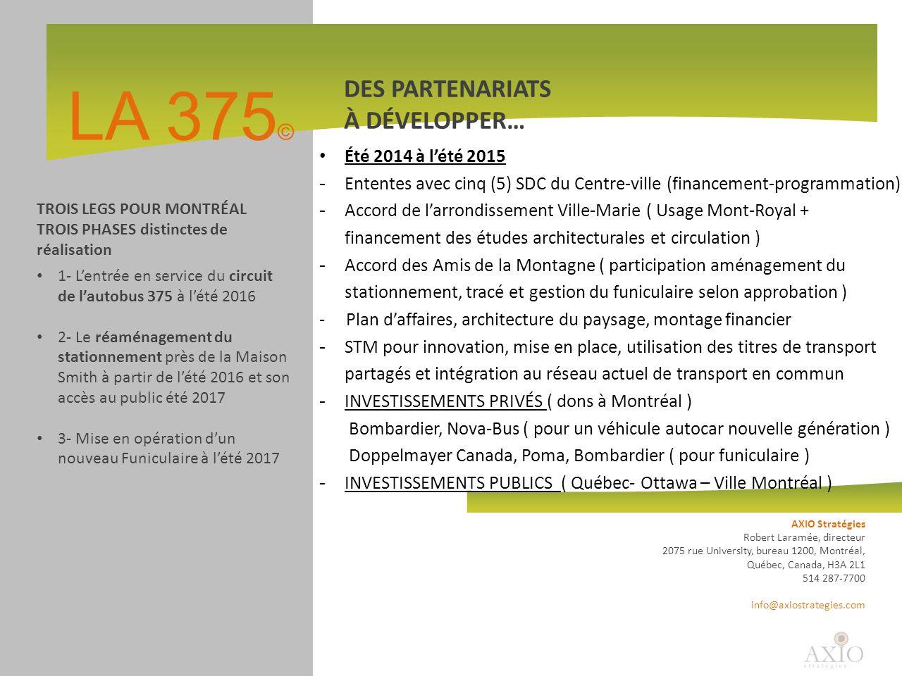 LA 375 © DES PARTENARIATS À DÉVELOPPER… AXIO Stratégies Robert Laramée, directeur 2075 rue University, bureau 1200, Montréal, Québec, Canada, H3A 2L1 514 287-7700 info@axiostrategies.com TROIS LEGS POUR MONTRÉAL TROIS PHASES distinctes de réalisation 1- L'entrée en service du circuit de l'autobus 375 à l'été 2016 2- Le réaménagement du stationnement près de la Maison Smith à partir de l'été 2016 et son accès au public été 2017 3- Mise en opération d'un nouveau Funiculaire à l'été 2017 Été 2014 à l'été 2015 - Ententes avec cinq (5) SDC du Centre-ville (financement-programmation) - Accord de l'arrondissement Ville-Marie ( Usage Mont-Royal + financement des études architecturales et circulation ) - Accord des Amis de la Montagne ( participation aménagement du stationnement, tracé et gestion du funiculaire selon approbation ) - Plan d'affaires, architecture du paysage, montage financier - STM pour innovation, mise en place, utilisation des titres de transport partagés et intégration au réseau actuel de transport en commun - INVESTISSEMENTS PRIVÉS ( dons à Montréal ) Bombardier, Nova-Bus ( pour un véhicule autocar nouvelle génération ) Doppelmayer Canada, Poma, Bombardier ( pour funiculaire ) - INVESTISSEMENTS PUBLICS ( Québec- Ottawa – Ville Montréal )