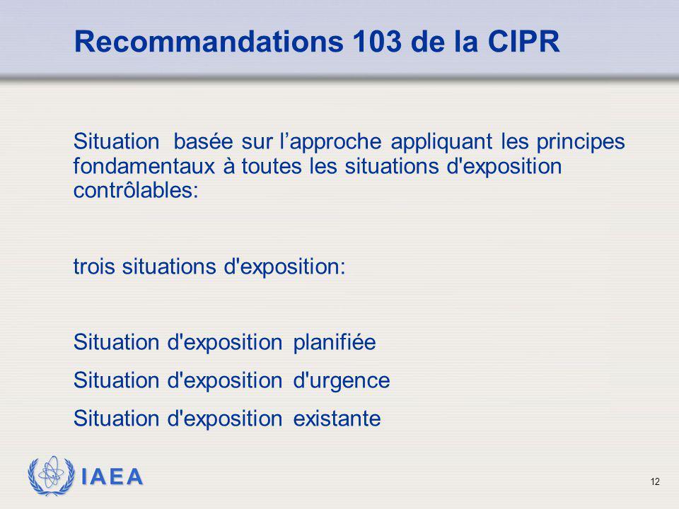 IAEA 12 Recommandations 103 de la CIPR Situation basée sur l'approche appliquant les principes fondamentaux à toutes les situations d'exposition contr
