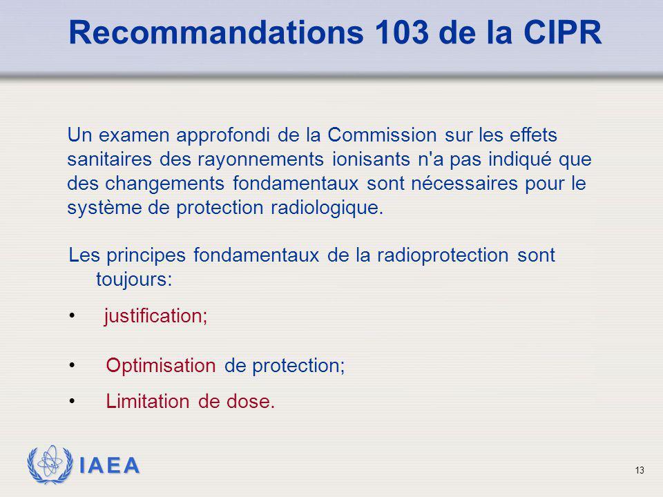 IAEA 13 Les principes fondamentaux de la radioprotection sont toujours: justification; Recommandations 103 de la CIPR Optimisation de protection; Limi