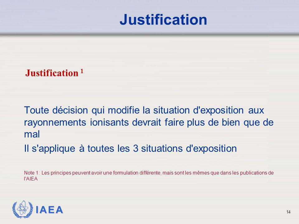 IAEA 14 Toute décision qui modifie la situation d'exposition aux rayonnements ionisants devrait faire plus de bien que de mal Il s'applique à toutes l