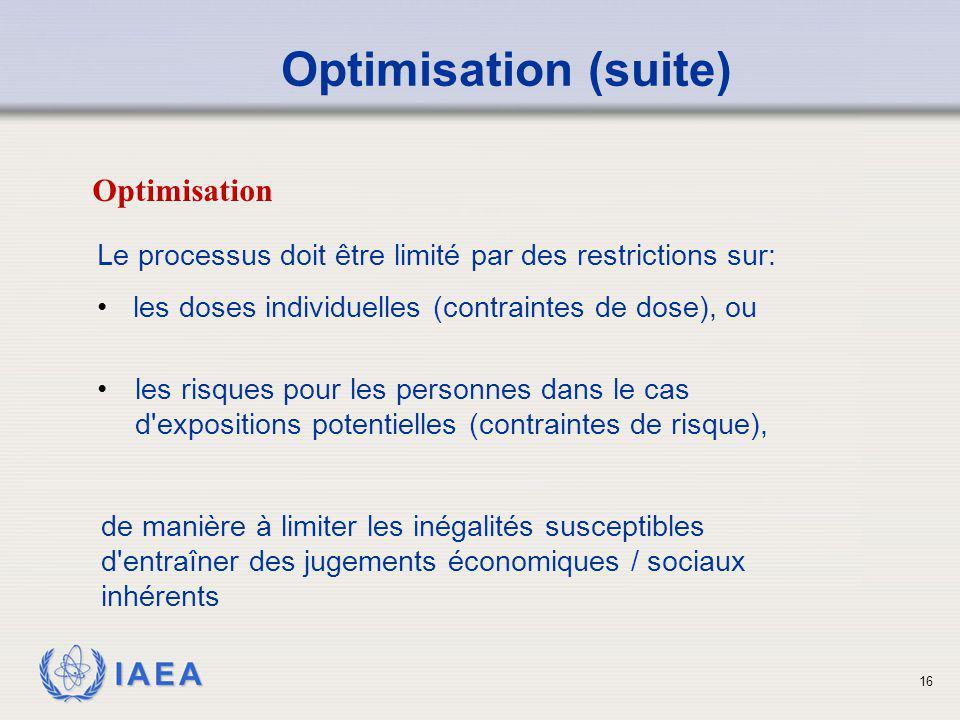 IAEA 16 Le processus doit être limité par des restrictions sur: les doses individuelles (contraintes de dose), ou de manière à limiter les inégalités